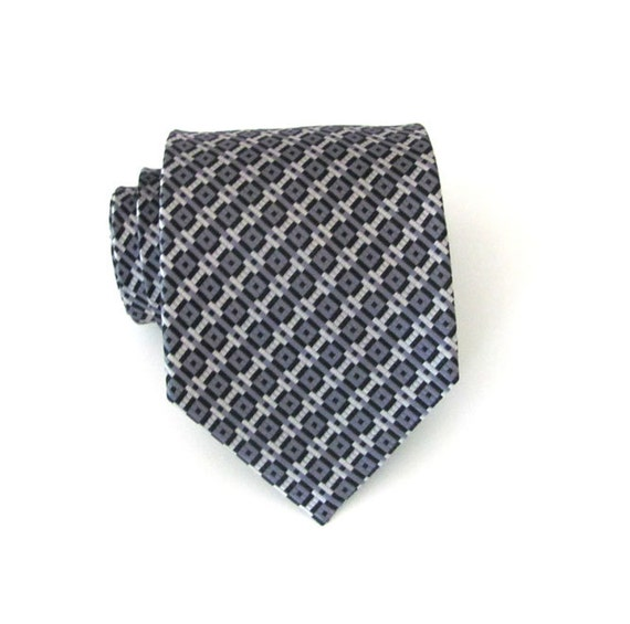Grey Tie - Grey and Black Silk Necktie