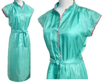 Vintage 70s Hukapoo Disco Dress Silk Turquoise & Pink M