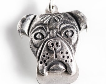 Boxer Necklace Jewelry Sterling Silver Dog Pendant Personalized