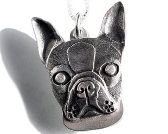 Boston Terrier  Necklace Jewelry Sterling Silver Dog Pendant Personalized
