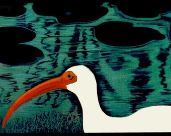 SHORE BIRD (Ibis), Original Digital Drawing printed on Mulberry Rice Paper,in 8x10 black or white mat, Ready to Frame