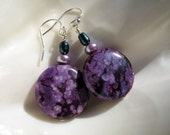 Eggplant Purple Round Jasper Earrings with Lilac and Emerald Green Pearls