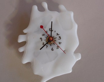 SALE! - fused glass clock - white