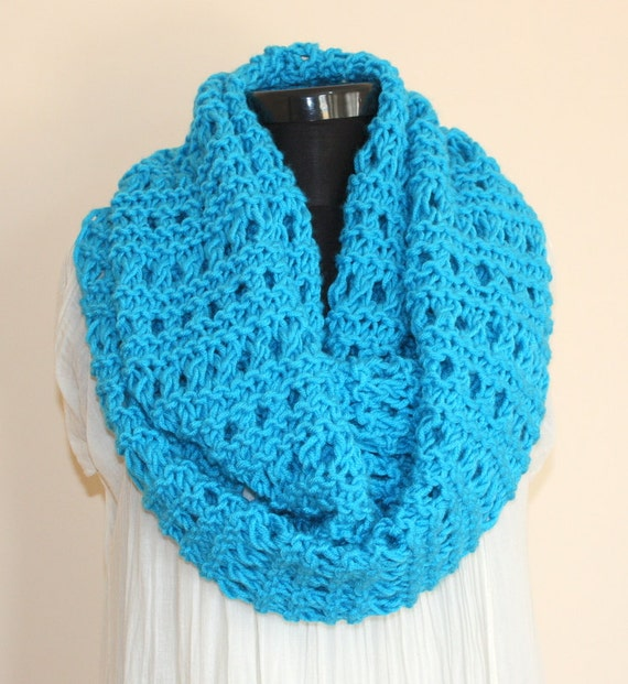 Turquoise Blue Chunky Large Loop Scarf - Ready to Ship