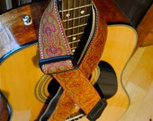 Adjustable Acoustic Guitar Strap - Royal Ruby Red - OOAK