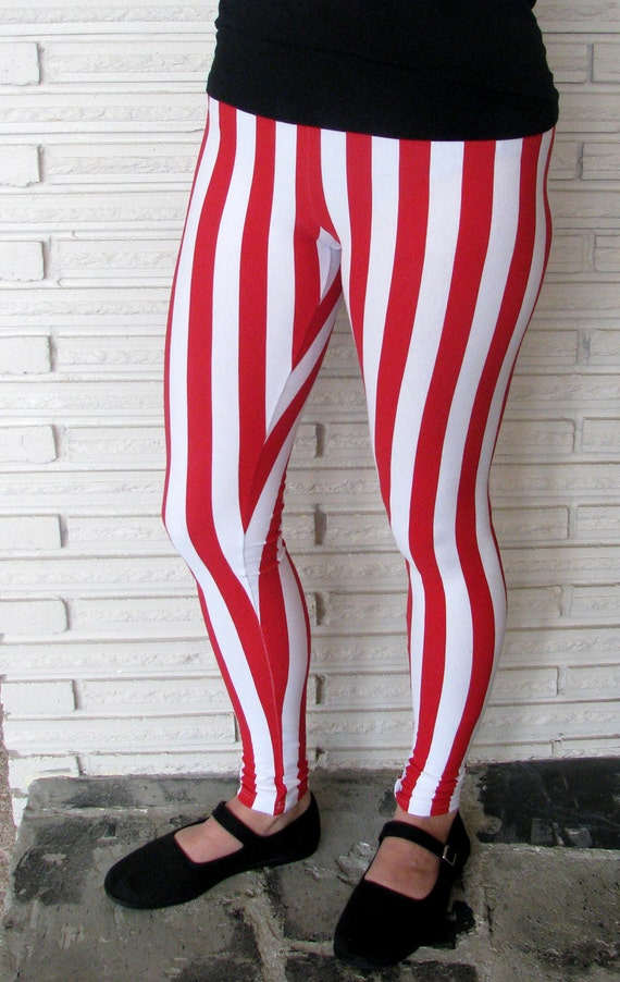 Candy Cane Leggings Red and White Striped Leggings Vertical