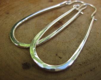 Handmade Large Maria Hammered Sterling Silver Hoops Earrings