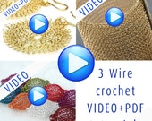 Stunning jewelry crochet pattern, video tutorial with PDF, instant download, 3 in one combo,step by step instructions, earrings, cuff ,beads