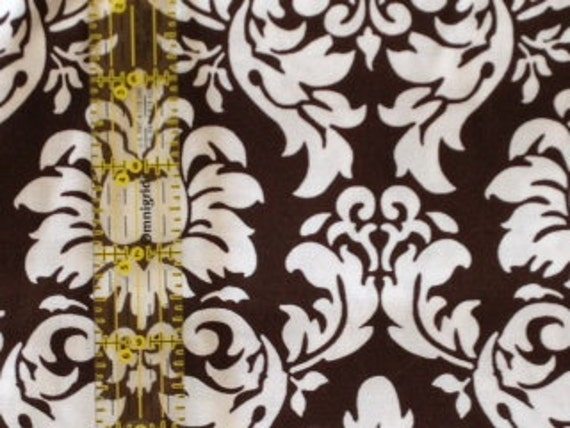 Michael Miller Dandy damask Brown white cotton quilting fabric C3095