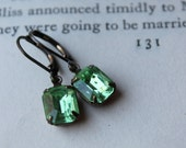 Vintage Jewel Earrings, Peridot Green Petites, Old Hollywood Glam, Green, Glamour