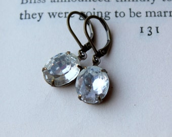 Crystal Clear Rhinestone Earrings, Oval Jewel Earrings Vintage Glass Wedding Earrings Old Hollywood Glam Wedding Jewelry Drop Earrings
