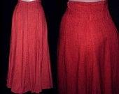 Vintage 80s High Waisted Skirt Red Black Fleck  S