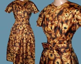 Vintage 60s Modern Floral Print Dress  XS