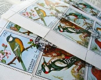 Birds - vintage stamps - 18 - postage stamp set - postage ephemera - 3 sheets
