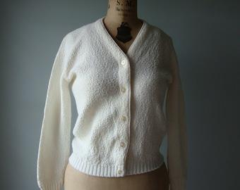 1960s white cardigan / Joyce Lane