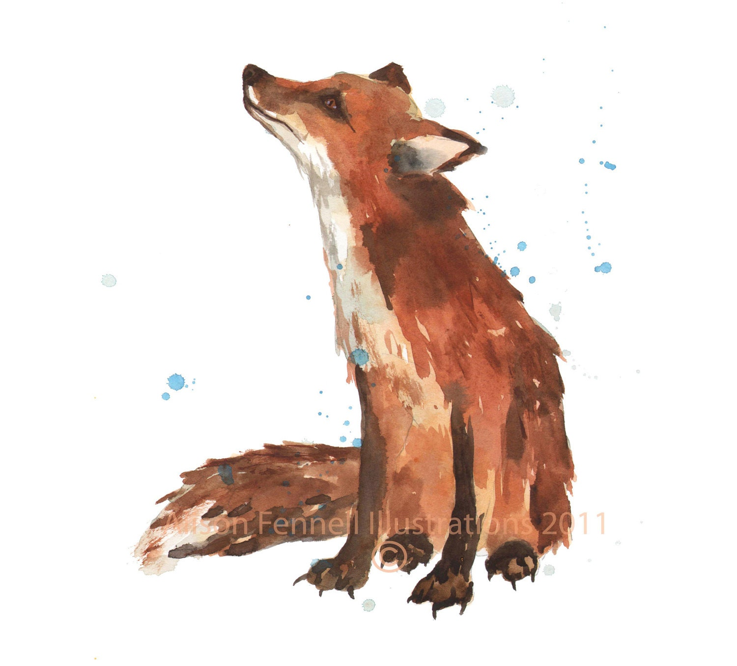 Watercolour fox painting print fox small 5x7 print