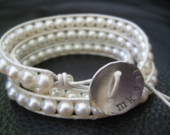 White Pearl Wedding Wrap Bracelet Custom Stamped Button great for bride or bridesmaids mom grandmother gifts