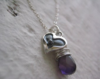 Lilla Necklace- Sterling Silver, Heart Charm, Wire Wrapped Amethyst