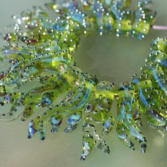 Green Corals - Handmade Lampwork Glass Beads (SRA)