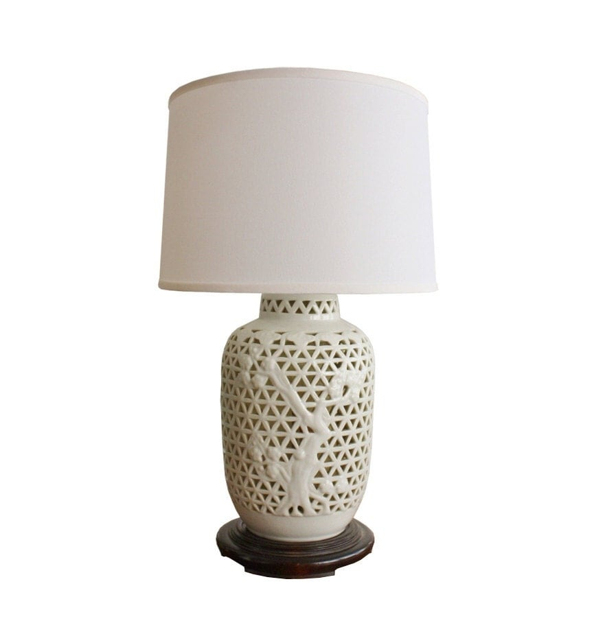 Vintage Blanc De Chine White Porcelain Table Lamp