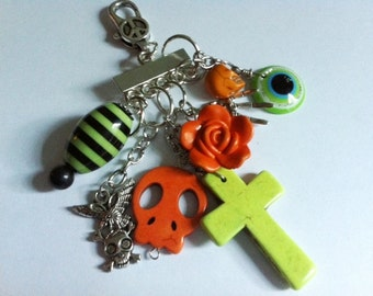 Day of the Dead Skull Cross Bag Candy Key Chain Key Ring-Pendant-Where Every Design Tells A Story-