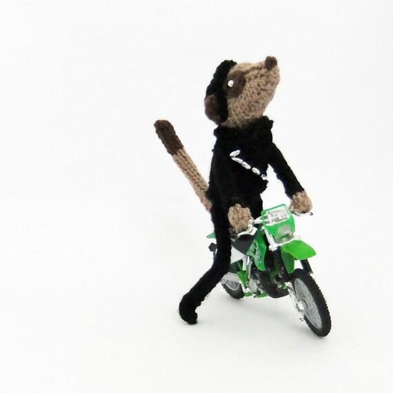 Biker meerkat with Kawasaki Motorbike, motorbiker, knitted meerkat, motorcyclist, cyclist, motorist, ooak