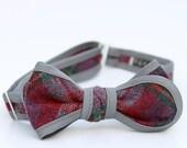 plum plaid bow tie- grey