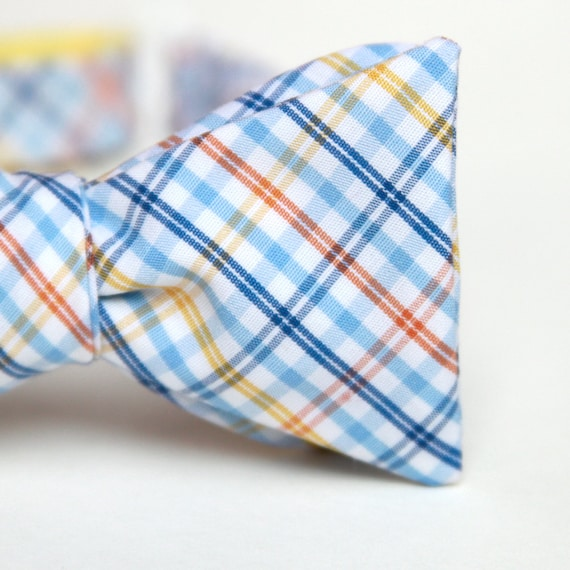 liam plaid mens bow tie