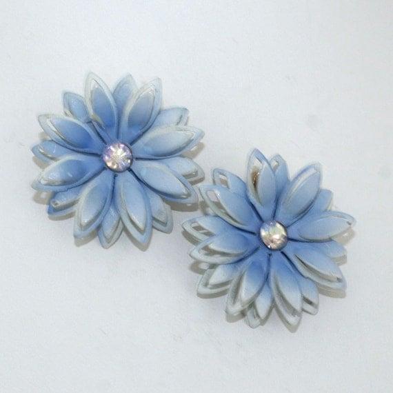 Vintage Powder Blue & Rhinestone Flower Earrings Clip On