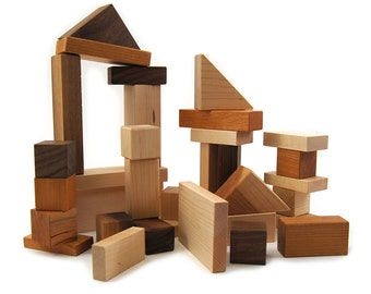 Wood Building Blocks, 32 piece shape kids toy