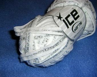 Silver White Soft Ribbon Shine Ice Yarn 2 skeins