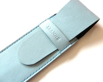 Leather Pen Case, Light Blue (2 pens)