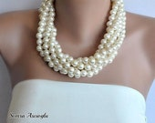 Chunky Layered Ivory Pearl Necklace,Layered Bridal Necklace, Multi Strand Wedding Necklace, Ivory Pearls, Statement Necklace Chunky Pearls