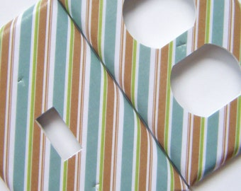 Switchplate Light Switch Cover Outlet Cover -- Blue, Brown, and Green Stripes