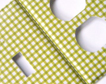 Light Switch Cover Outlet Cover Switchplate -- Lime Green Gingham