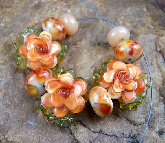 Lampwork Glass Beads, HoneyComb Roses SRA 400 by CC Design