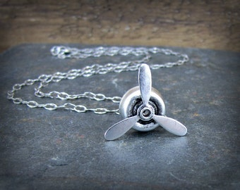 Propeller Necklace Spinning  Aviation Charm Aviator Jewelry Antique Silver