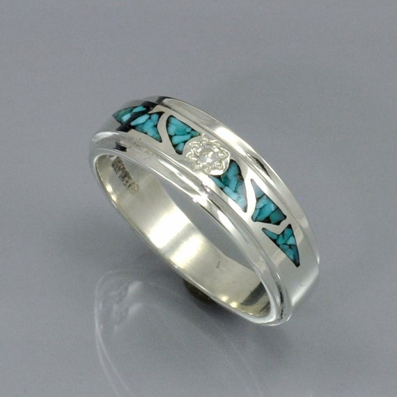 Mosaic Turquoise Inlay Silver Band With Diamond Center Stone