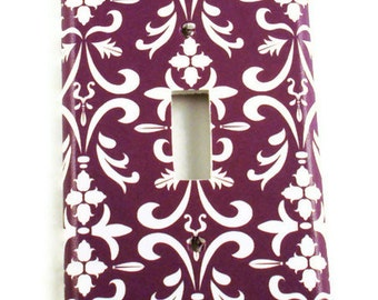 Light Switch Cover Switchplate Wall Decor  Switch Plate   Purple  Damask (183S)
