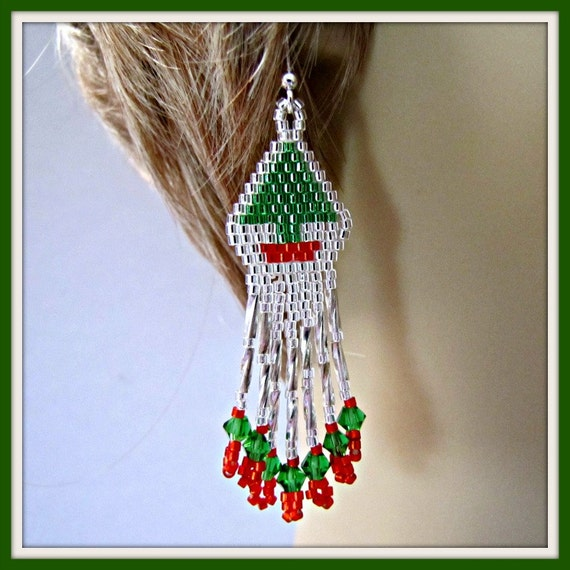 Christmas Tree Earrings Beaded  Holiday Chandelier Sterling Silver .935 Earwires Item #822