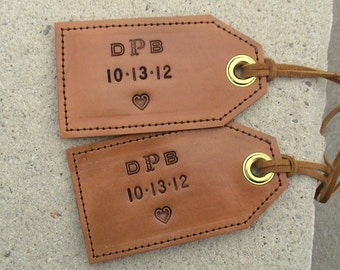 Custom Momogrammed - All Leather Luggage Tags - with privacy flap - set of 2