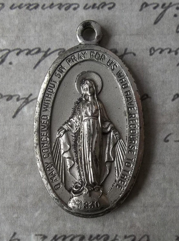 Large Beloved Vintage Italian Miraculous Medal Of The