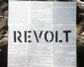 Painting REVOLT in black on Vintage Book Pages -  11 inch Square FREE Pif AOK