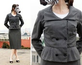Vintage Gray 40s Suit with Feminine Fitted Peplum Jacket - M