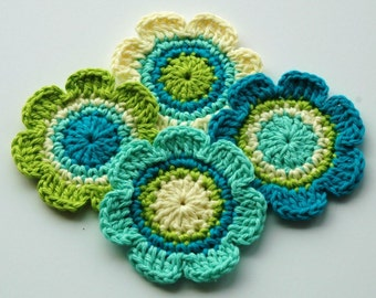 Crochet Applique Flowers - Blue and Green