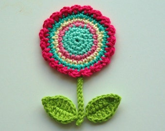 Crochet Circle Motif Flower with leaves and stem -  Crochet Garden Series