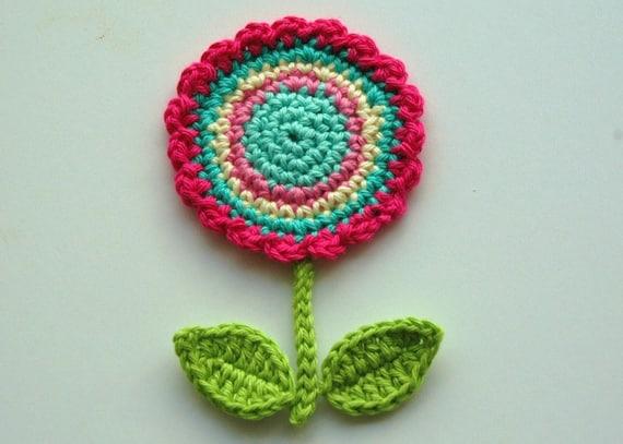 Crochet Circle Motif Flower with leaves and stem -  Crochet Garden Series