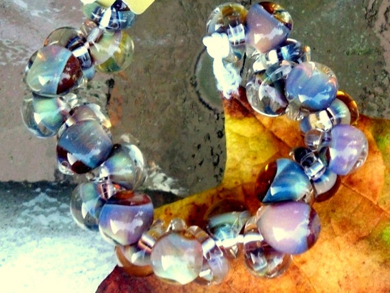 25 Morning Pearl Teardrop Handmade Lampwork Beads - 10mm (22123)