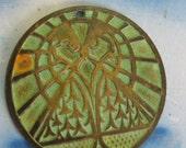 Verdigris Patina Mystical Owl Pyramid Medallion Pendants 2137VER x2