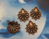 Copper Ox Plated Shell Charm Pendants 122COP x4